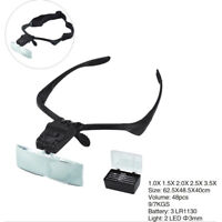 2 LED Head Light Headband Magnifier Headset Magnifying Glass Loupe with-5 x Lens