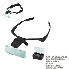 2LED Head Light Headband Magnifier Headset Magnifying Glass Loupe with_5xLens TS