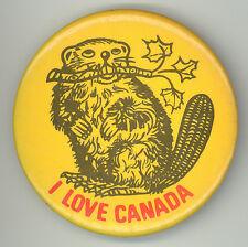 I LOVE CANADA Vintage PIN Button PINBACK Badge TOURISM Travel SOUVENIR Canadian