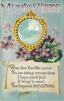 Happy Reflections~Memory's Mirror~African Violets~Silver Back~Embossed~1912