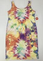 Hot Kiss Women's Plus Size 3X Colorful Tie Dye Tank Bodycon Midi Dress NWT
