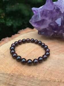 Men & Women 100% Natural Garnet 8 mm Beads Handmade 1 Adjustable Bracelet E35
