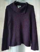 Coldwater Creek Large Sweater Purple Cowl Neck Knit Variegated Long Sleeve
