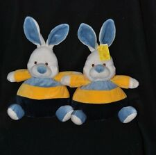 Lot 2 Peluche Doudou Lapin Boule CP INTERNATIONAL Jaune Bleu 20/30 Cm NEUF