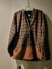 DC Mens Snowboard Color Dull Gold BACKWOODS FLANNEL SHACKET Shirt Jacket Small