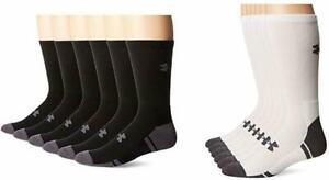 NWT Under Armour Mens Resistor 3.0 Training Crew Socks 6 pack Sizes M L