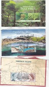 NORFOLK ISLAND, 6 different minisheets used on paper ,great !!!!!!