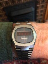 Bulova Quartz Red LED Watch n6 model Works as it should! Very clean