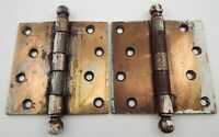 """2 Vtg Brass Stanley Sweetheart SW Cannon Ball 4"""" Hinges Yorktowne Hotel Salvage"""