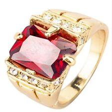 Bronze Zircon Wedding Ring Size 7-14 Fashion 18k Yellow Gold Plated Luxury Men