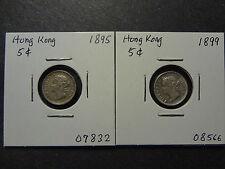 HONG KONG 1895 + 1899 QV SILVER FIVE 5 CENTS COMBO, FRESH EF!