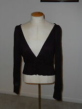 MOTH ANTHROPOLOGIE BURGANDY LONG SLEEVE VEE NECK BUTTON DOWN CROPPED SWEATER L