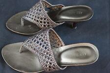 Women's Ann Marino slip on heel sandals size 8m leather upper strappy