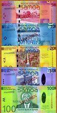 SPECIMEN Set, Samoa 5;10;20;50;100 Tala, ND (2008) P-38;39;40;41;42, UNC