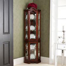 Corner Curio Cabinet Mahogany Finish Lighted China Display Case Glass Shelves