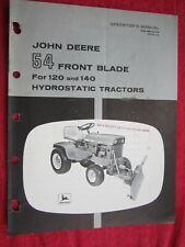 John Deere 120 Amp 140 Lawn Tractor 54 Front Blade Operators Manual Omm44474 G9