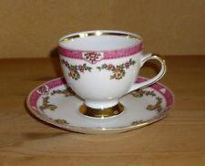 Mitterteich 1 Kaffeegedeck 2.teilig mehrfarbiges  Blütendekor, dicker Goldrand