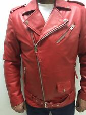 MENS GENUINE LEATHER CLASSIC BIKER JACKET MOTORCYCLE RED (ALL SIZES)