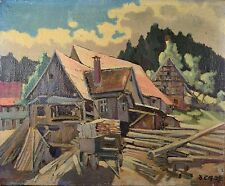 Beautiful Antique Oil Painting, German Logging House, Signed & Dated 1939, NICE!