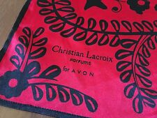 CHRISTIAN LACROIX Parfums for AVON Red Black Square Satin Handkerchief Scarf
