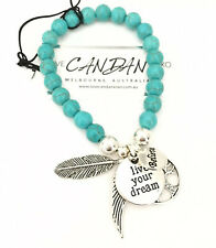 Turquoise Bracelet Live Your Dream Tree Of Life Believe Angel Feather Wing Charm