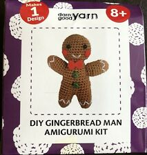 Darn Good Yarn DIY Gingerbread Man AMIGURUMI Knit & Crochet Starter Kit New