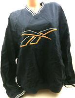 Vtg 90s Reebok Mens Pullover Windbreaker Logo Nylon Color Block Spell Out Rap L