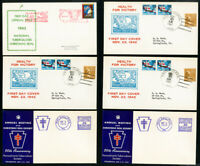 US Early 1940s Lot of 6 Stamped Christmas Seal First Day Covers FDC
