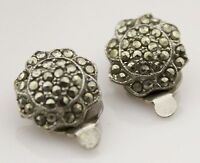 Vintage Earrings Marcasite Silver  Clip-On Costume Jewellery Retro 50s 60s Round