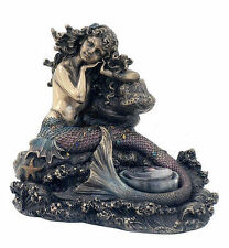 Mermaid Statue Nautical Decor T-Light Holder of Sea Creature On Rock #WU76026A4