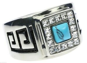 Turquoise Stone Cz Border Aztec Healing Stainless Steel Men's Ring Size 10 T53