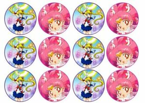24 Japanese Anime Theme Edible Wafer Cup Cake Toppers Icing or Wafer