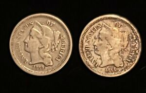 2-1866 Three Cent Nickel/3c Nickel KM#95
