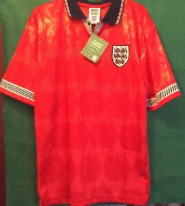 England 1990 world cup away Scoredraw  retro replica football shirtMen's Med