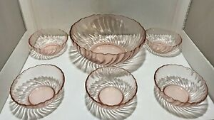 Vintage Arcoroc Rosaline 6 Pc Salad Bowl Set Pink Swirl France