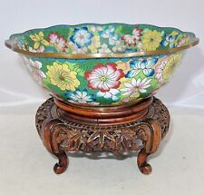 "7.75"" Antique Chinese Cloisonne Scalloped Bowl with Flowers & Wood Display Stand"