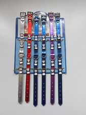 collier pour chien neuf os rouge argenté bleu métal violet brillant réglable été