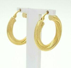 Ladies Earrings 9ct (375, 9K) Yellow Gold Patterned Hoop Earrings
