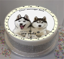 "Personalised Husky Dogs with Quote 7.5"" Edible Icing Cake Topper birthday puppy"