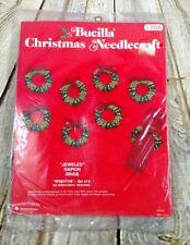 Bucilla Felt Applique Napkin Rings Jeweled Napkin Rings Wreaths Set of 8 VTG