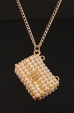 Cute Gold Retro Fashion Bag Handbag Purse Pendant Pearl Jewellery Necklace