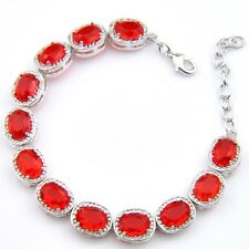 Xmas Gift Gorgeous Fire Red Garnet Gemstone Vintage Silver Charming Bracelets