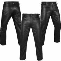 Mens Black Leather Trousers Motorbike Motorcycle Jeans Biker Cowhide Soft Pant