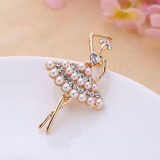 Attractive Pearl Dancing Ballet Girl Brooch Gold Color Rhinestone Pin