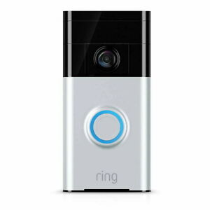 Ring 720P Wireless Door Chime Doorbell Video Silver Motion Detect Night Vision