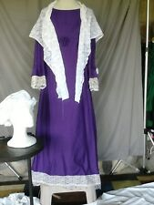 Colonial Dress Victorian Edwardian Civil War Style Costume with Shawl & Mop Hat