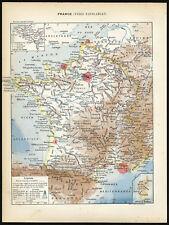Antique Print-WATERWAYS-RAILWAYS-FRANCE-Larousse-1897