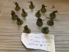 12 Flames Of War Figurines And Book 1st Rifle Squad , Vintage Style Toy Soldiers