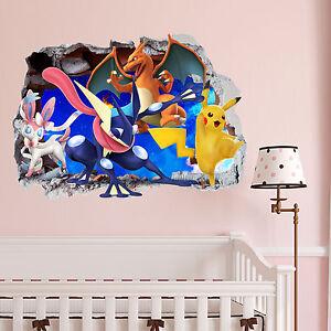 Pokemon Gang Smashed wall Crack Kids Boy Girls Bedroom Vinyl Decal Sticker Gift