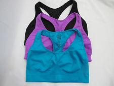 (3) Pre-owned Victoria's Secret PINK Blue/Purple/Black Seamless Yoga Bralette S